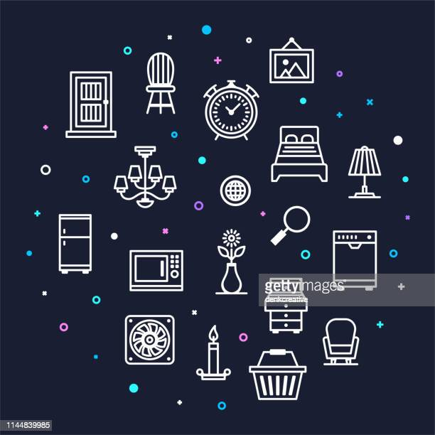 furniture merchandising & service productivity memphis style outline infographic design - showroom stock illustrations, clip art, cartoons, & icons