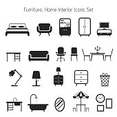Furniture Mono Icons Set