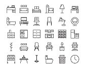 30 Furniture outline icon set. Icon for web and UI  design.