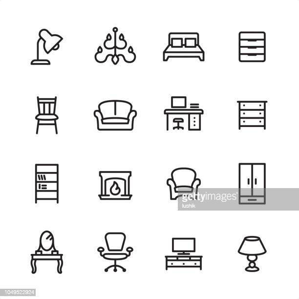 furniture - outline icon set - display cabinet stock illustrations, clip art, cartoons, & icons
