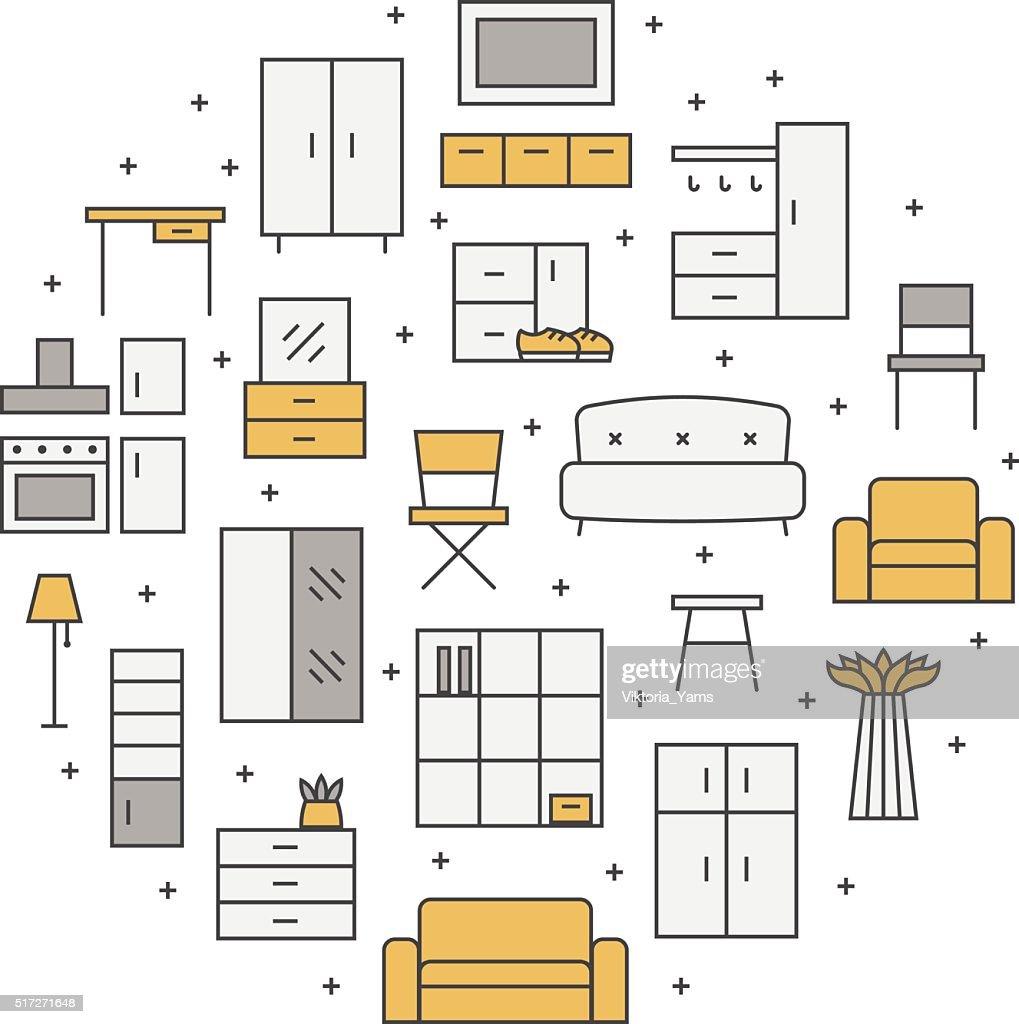 Furniture outline multicolored vector circle background. Modern minimalistic design.