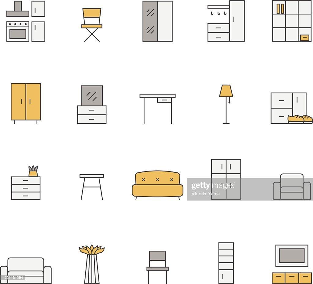 Furniture outline multicolored vector icon set. Minimalistic design.