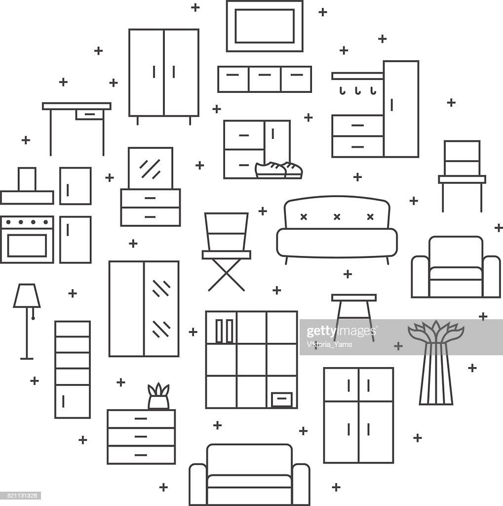 Furniture outline vector circle background. Minimalistic design.
