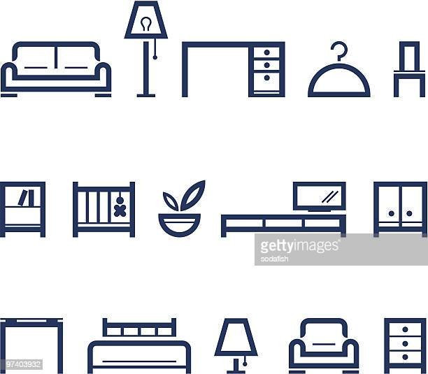furniture pictograms - furniture stock illustrations, clip art, cartoons, & icons