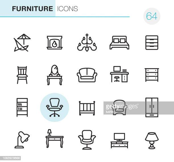 furniture - pixel perfect icons - bed furniture stock illustrations