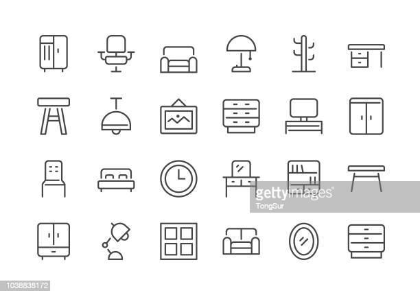 ilustraciones, imágenes clip art, dibujos animados e iconos de stock de muebles - línea regular los iconos - reloj de pared
