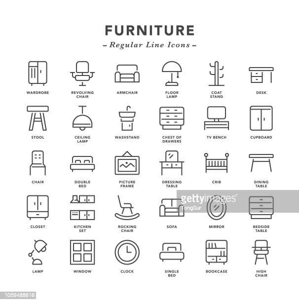 furniture - regular line icons - comfortable stock illustrations
