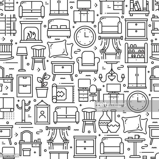 furniture related seamless pattern and background with line icons. editable stroke - furniture stock illustrations