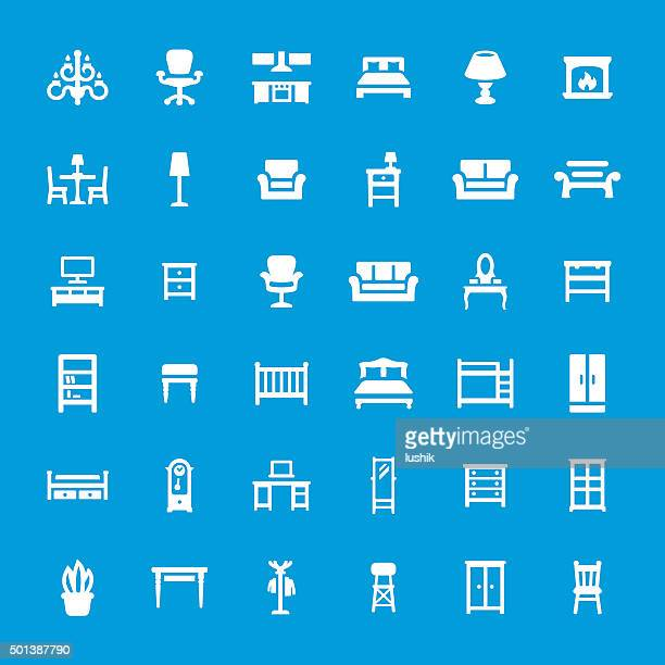 furniture related vector icon set - display cabinet stock illustrations, clip art, cartoons, & icons