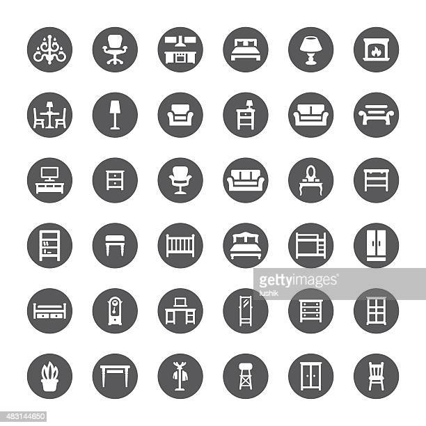 furniture related vector icons - display cabinet stock illustrations, clip art, cartoons, & icons