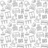 Furniture seamless pattern. Background, illustration, vector, endless texture.