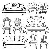 Furniture set, armchair, sofa, bed,  chair, throne