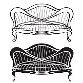 Furniture set, vintage sofa