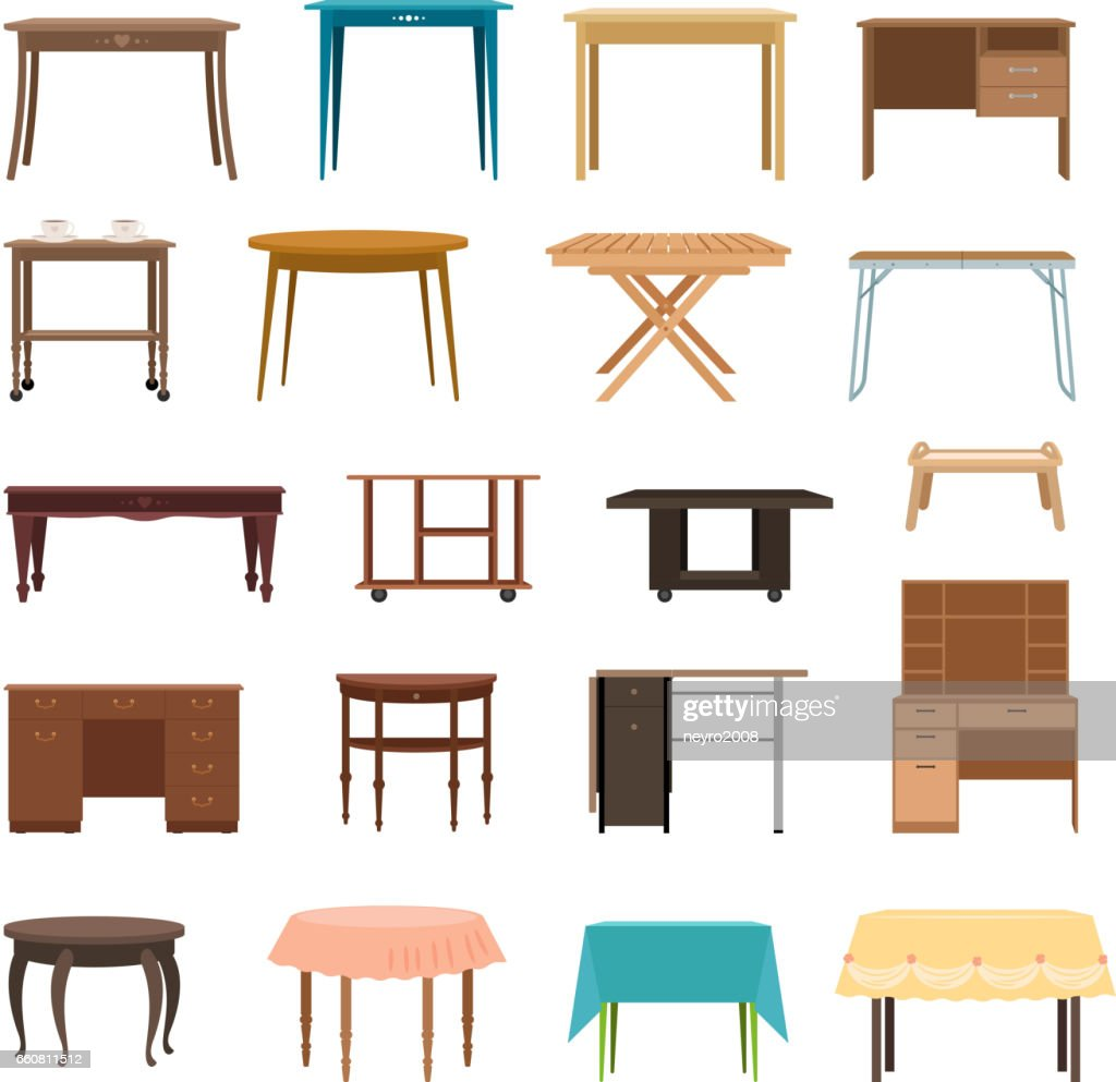 Furniture table isolated on white background. Modern and retro tables, retro and office desk icons vector illustration