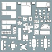 Furniture top view architecture plan