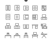Furniture UI Pixel Perfect Well-crafted Vector Thin Line Icons 48x48 Ready for 24x24 Grid for Web Graphics and Apps with Editable Stroke. Simple Minimal Pictogram