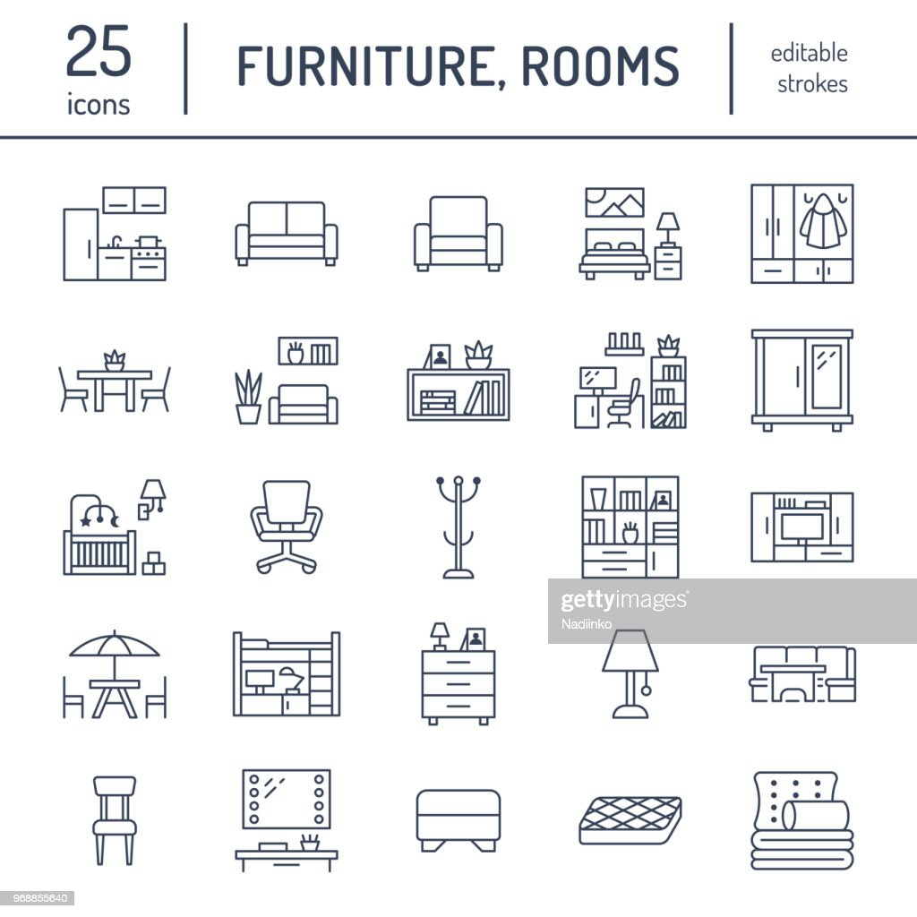 Furniture vector flat line icons. Living room tv stand, bedroom, home office, kitchen corner bench, sofa, nursery, dining table, bedding. Thin signs collection for modern interior store