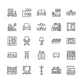 Furniture vector flat line icons. Living room tv stand, bedroom, home office, kitchen corner bench, sofa, nursery, dining table, bedding. Thin signs collection for interior store. Pixel perfect 64x64