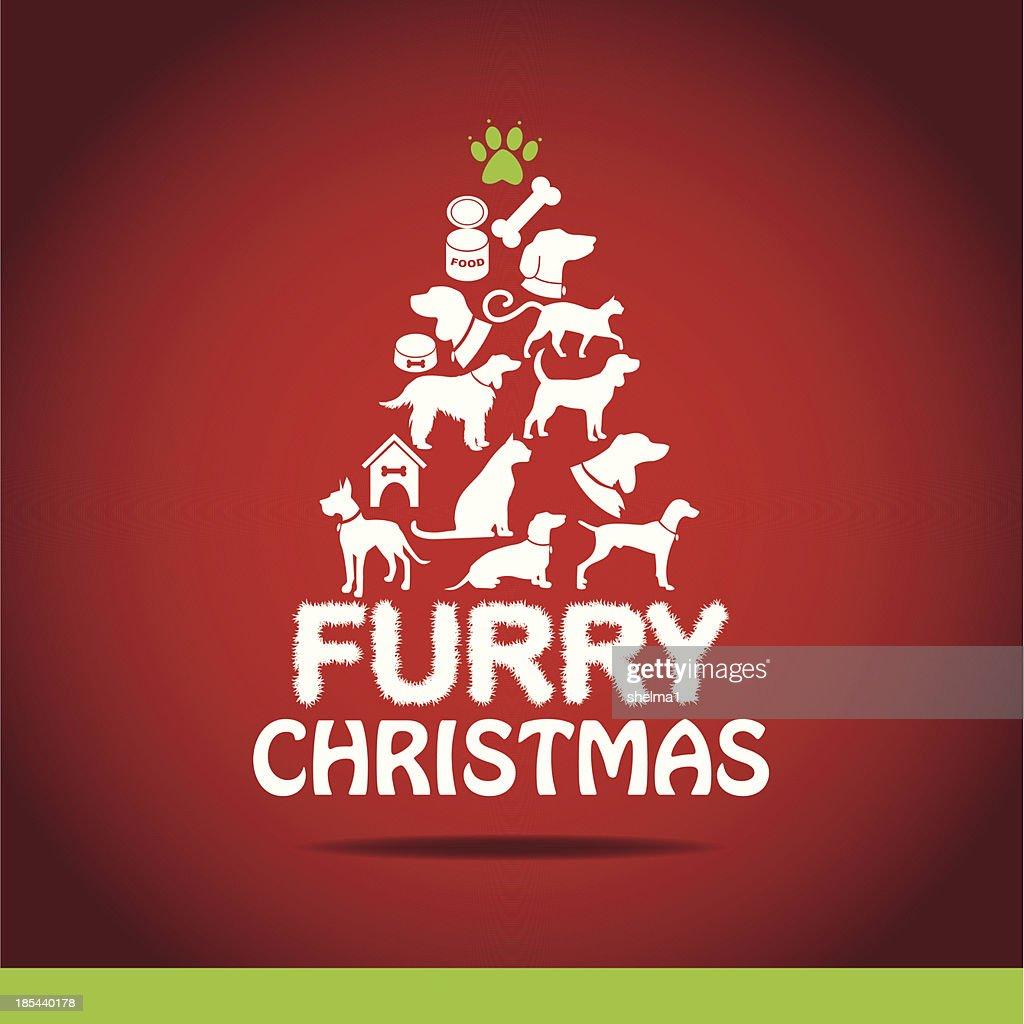 furry christmas tree greeting card design vector art - Furry Christmas
