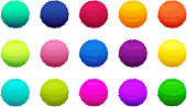 Furry colored balls. Vector pictures set