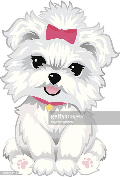 furry white puppy - hair bow stock illustrations