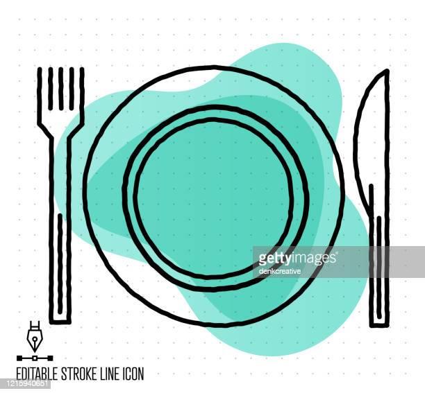 フュージョンレストランベクトル編集可能な線のイラスト - 皿点のイラスト素材/クリップアート素材/マンガ素材/アイコン素材