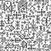 Futhark norse islandic and viking symbol seamless pattern. Magic hand draw symbols as scripted talismans repeatable background. ancient Iceland seamless. Ethnic norse viking pattern design.