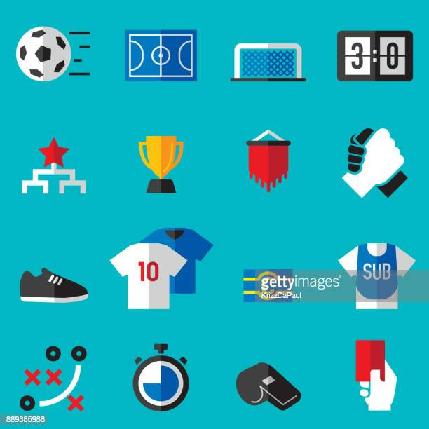 futsal flat icons - soccer uniform stock illustrations
