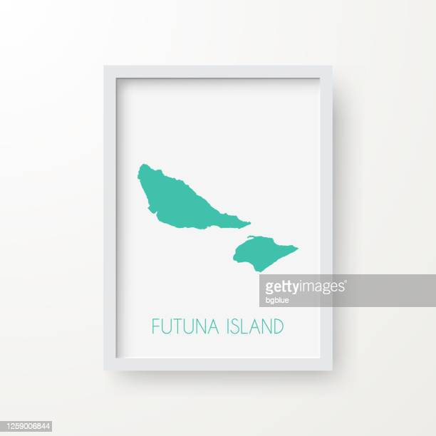 白い背景のフレーム内のフツナ島マップ - フランス海外領点のイラスト素材/クリップアート素材/マンガ素材/アイコン素材