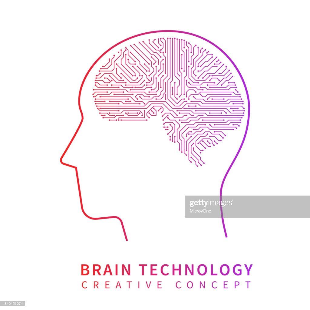 Future artificial intelligence technology. Mechanical brain creative idea vector concept