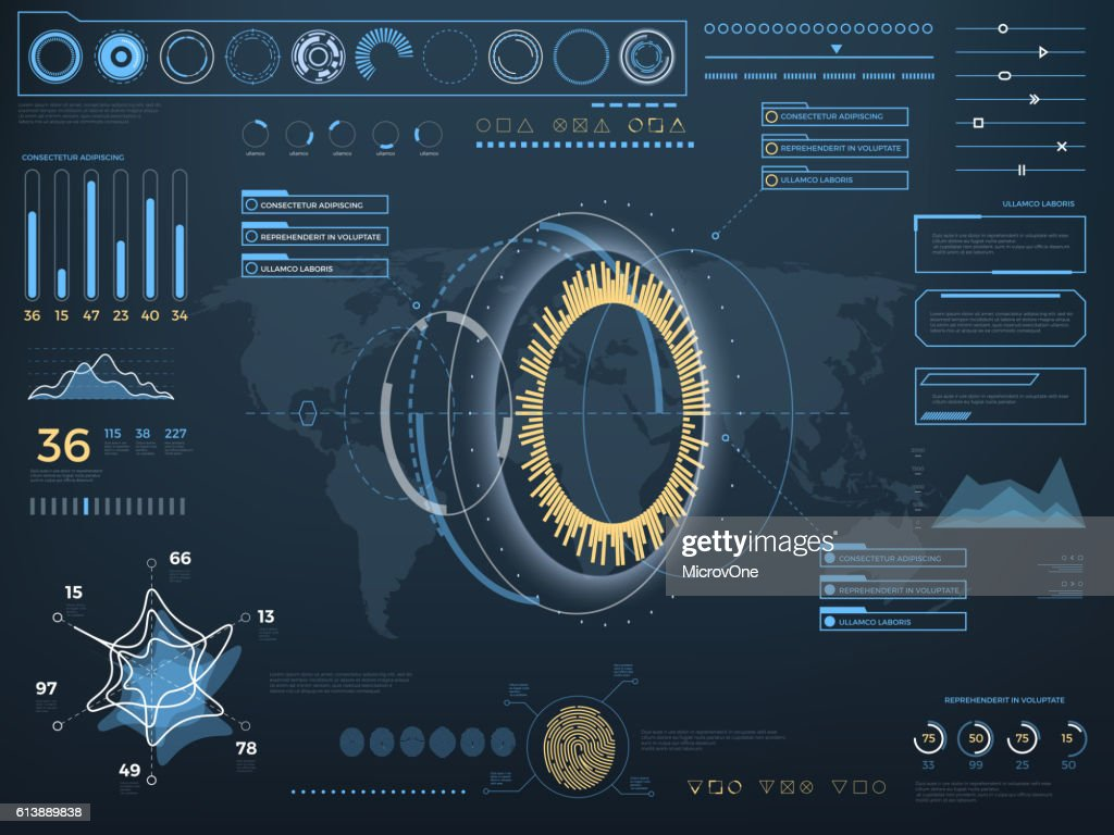 Future concept virtual touch user interface HUD. Vector interactive screen