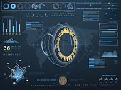 Future concept virtual touch user interface HUD. Vector interactive screen
