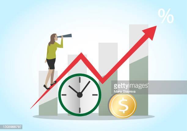 ilustraciones, imágenes clip art, dibujos animados e iconos de stock de la inversión futura, el tiempo es dinero. - impuestosobrelarenta