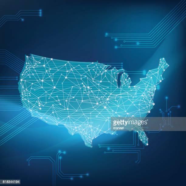 Zukünftige Netzwerkkarte der USA auf spacigen Hintergrund