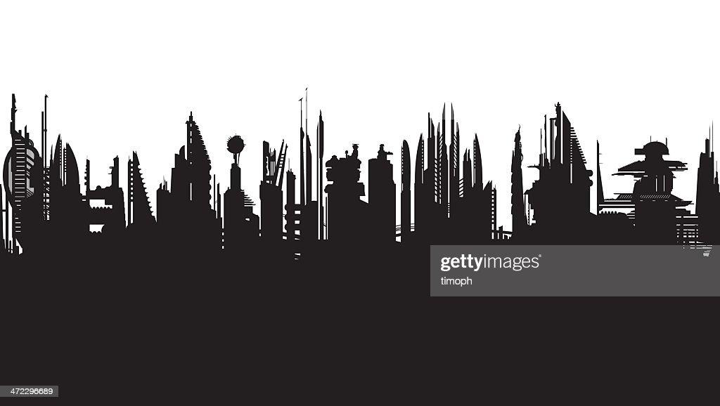 Future skyline b/w : stock illustration