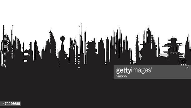 Future skyline b/w