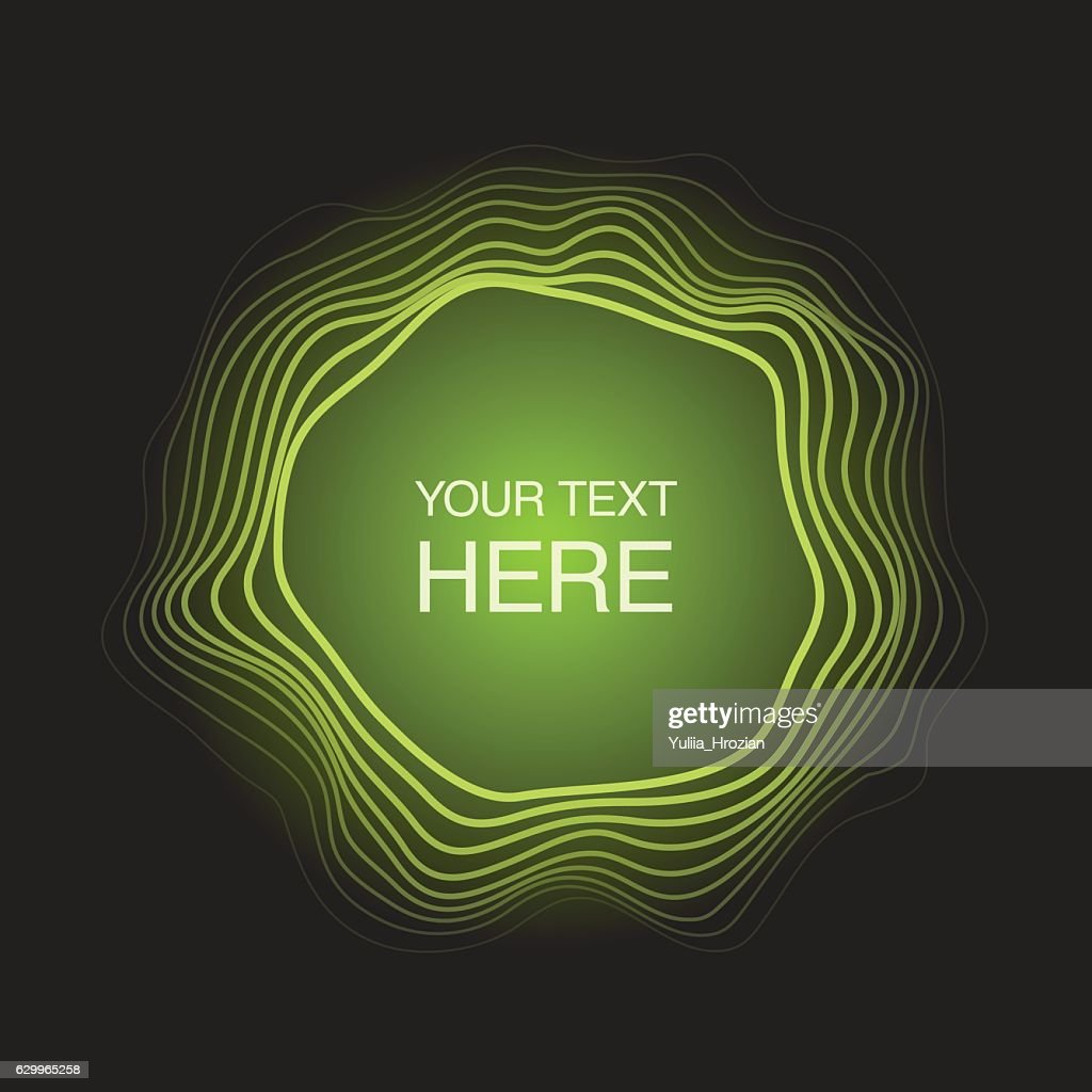 Futuristic abstract circles frame on neon green light background
