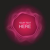 Futuristic abstract circles frame on neon pink light background