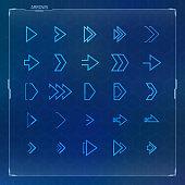 Futuristic arrow icons set