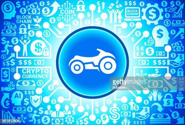 Futuristische Bike Symbol auf Geld und Kryptowährung Hintergrund