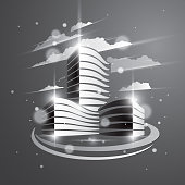 Futuristic building, modern style vector architecture illustration with blurred lights and glares effect. Real estate realty business center grey monochrome design. 3D business office facade in city.