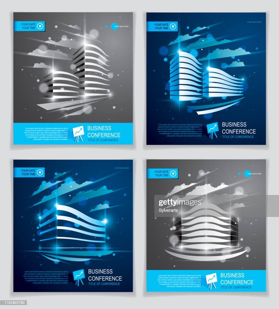 Futuristic buildings ads set, modern vector architecture brochures with blurred lights effect. Real estate realty business center blue designs. 3D futuristic facade business conference templates.