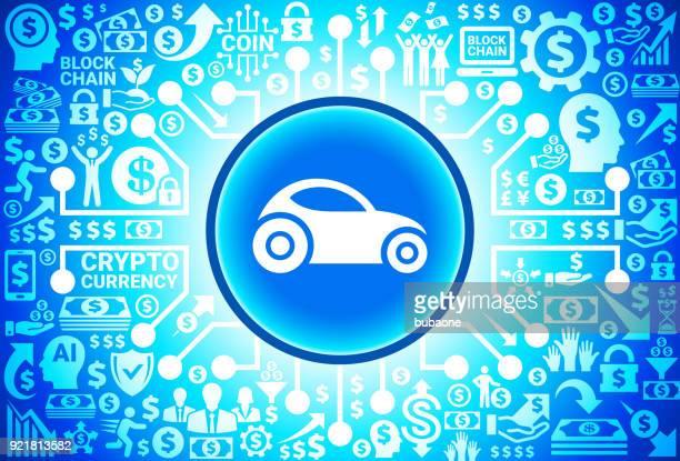 Futuristisches Auto-Symbol auf Geld und Kryptowährung Hintergrund