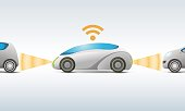 futuristic car with sensing and communication, vector illustration