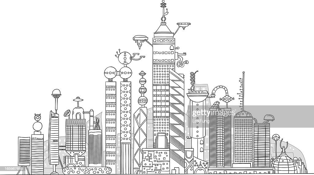 Futuristic City Illustration Vector Art Getty Images