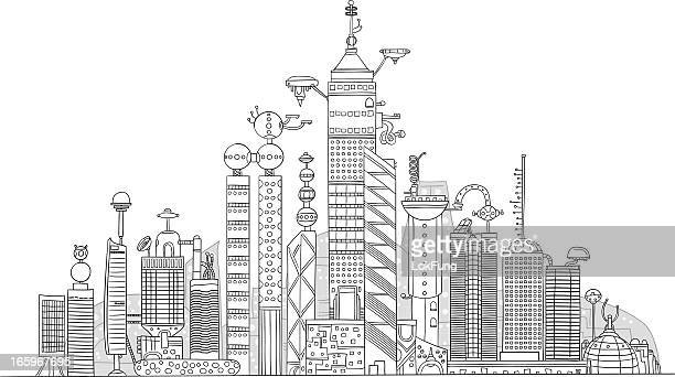 illustrations, cliparts, dessins animés et icônes de ville futuriste illustration - ville futuriste