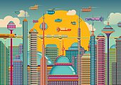 Futuristic city in color.