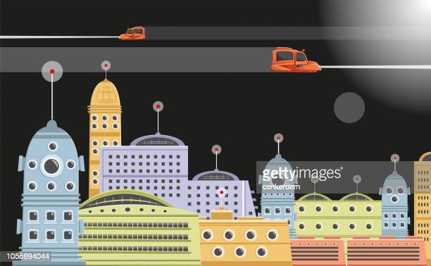 illustrations, cliparts, dessins animés et icônes de ville futuriste - ville futuriste
