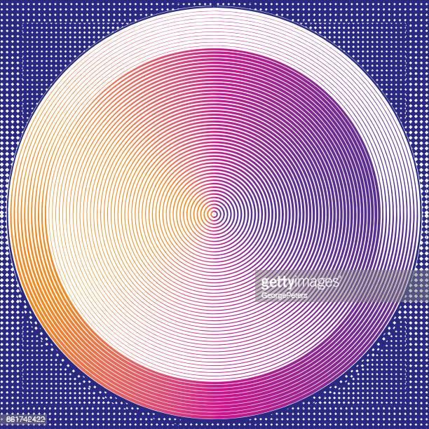 Futuristic concentric circles half tone pattern background