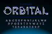 Futuristic display font design, alphabet, character set